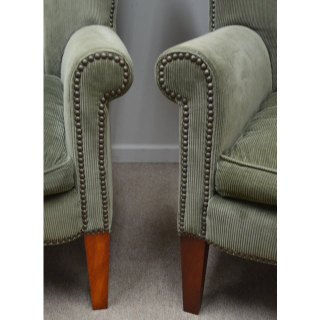 Traditional Pair Ralph Lauren Upholstered Arm Chairs For Sale - Image 3 of 11