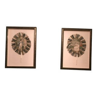Framed Silk Embroidered Georgian Period Antique Fans - a Pair
