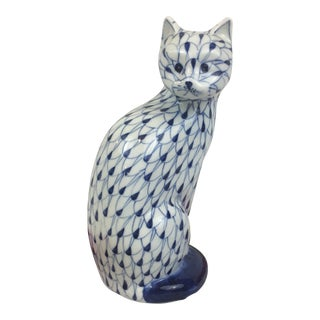 Herend Style Hand Painted Fishnet Cat Blue and White Figurine For Sale
