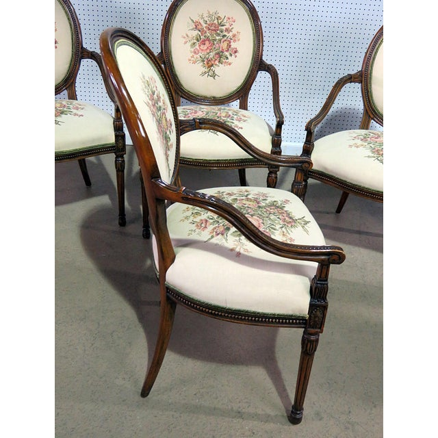 Textile Set of 4 Adams Style Arm Chairs For Sale - Image 7 of 9