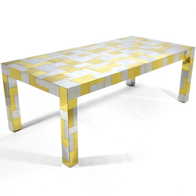 This large and dramatic dining table by Paul Evans is from his PE 200 Cityscape series and is covered in a patchwork of...