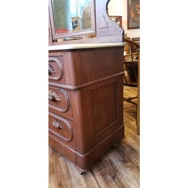 Traditional 19th Century Antique Eastlake Style Dresser With Mirror and Hidden Drawer For Sale - Image 3 of 12
