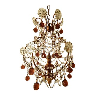 French Amethyst Murano Drops Crystal Chandelier, Circa 1930 For Sale