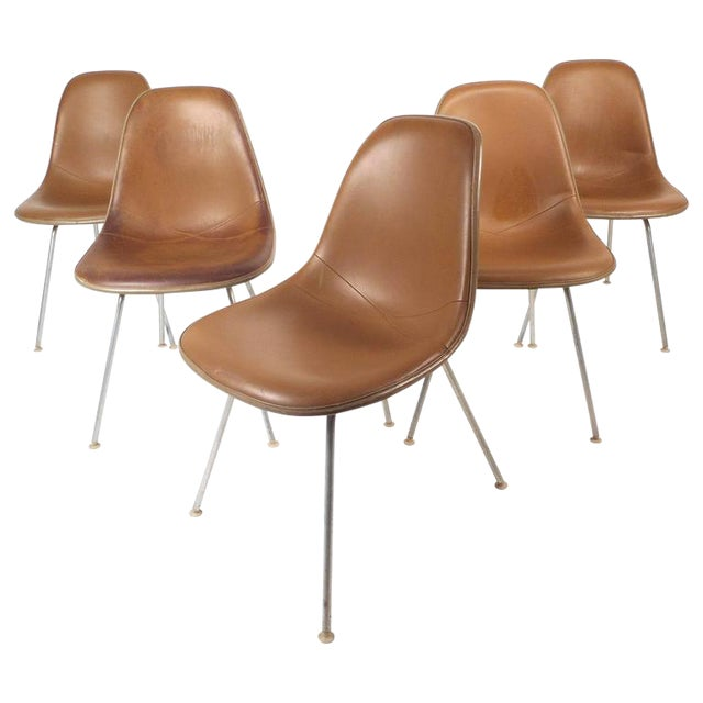 Mid-Century Modern Fiberglass Shell Chairs by Herman Miller - Set of 5 - Image 1 of 9