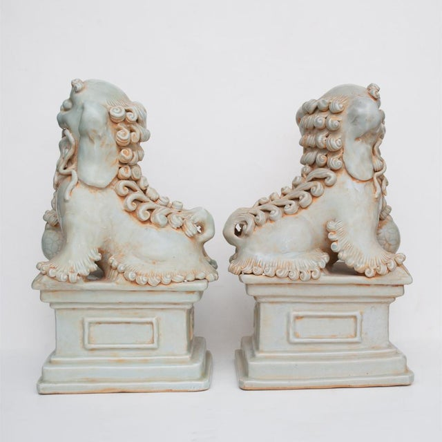 20th Century Large Chinese Celadon Foo Lions - a Pair For Sale - Image 4 of 13