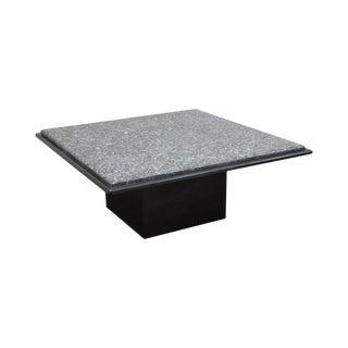 """Postmodern Vintage 1980's Custom 40"""" Square Black & Grey Marble/Granite Coffee Table For Sale"""