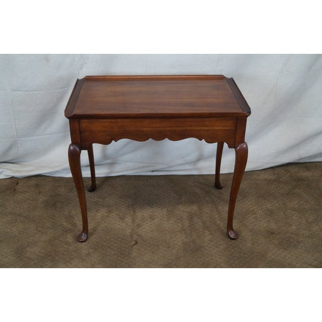 Statton Solid Cherry Queen Anne Style Tea Table - Image 3 of 10