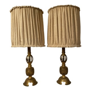 1920s Cast Brass Japanese Lamps For Sale