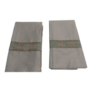 Pair of Antique Trim Pillow Cases in Silver and Teal For Sale