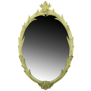 Hand-Carved French Regence Style Mirror With Gilt Ivory Glaze For Sale