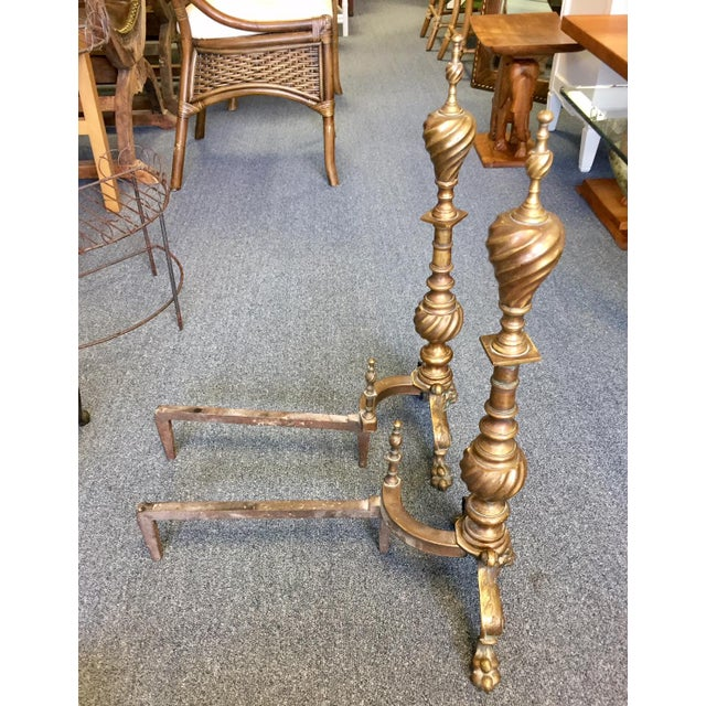 English Traditional 1950s English Traditional Brass & Copper Twisted Andirons - a Pair For Sale - Image 3 of 6