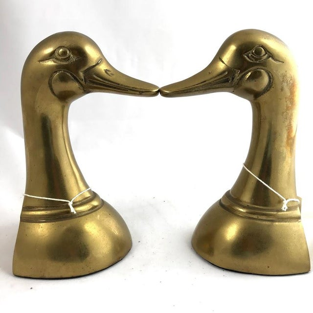 Mid 20th Century Vintage Mid-Century Modern Brass Mallard Bookends - a Pair For Sale - Image 5 of 8