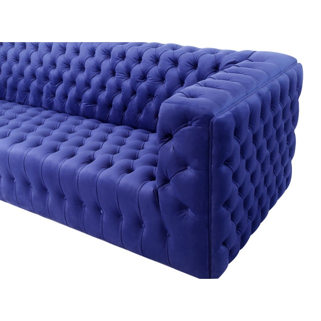 Transitional Pasargad Home Vicenza Collection Velvet Tufted Sofa, Blue For Sale - Image 3 of 9