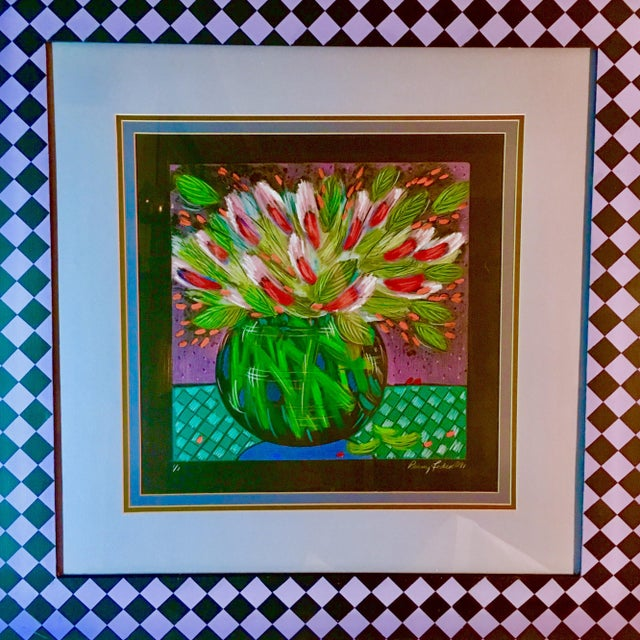 Up your art wall game with this vibrant original monotype by listed American artist Penny Feder, circa 1991. The piece is...