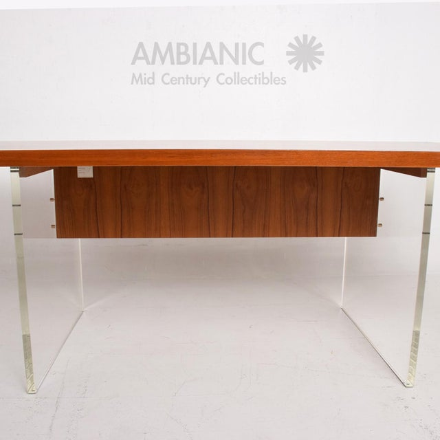Brass Mid-Century Danish Modern Teak and Lucite Dining Table For Sale - Image 7 of 8