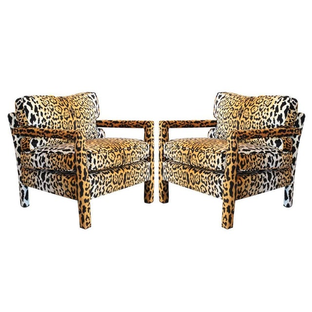 Pair of Leopard Parson Chairs in the Style of Milo Baughman, Custom For Sale - Image 13 of 13