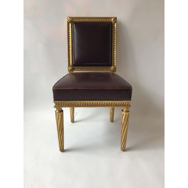 Wood French Style Louis XVI Giltwood/ Leather Dining Chairs- Set of 4 For Sale - Image 7 of 13