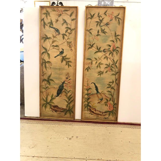 Hand Painted Asian Panels With Birds & Foliage - a Pair For Sale - Image 10 of 10