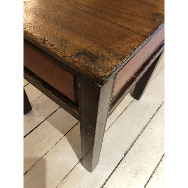 Brown Antique Chinese Rustic Wood End Table With Single Drawer For Sale - Image 8 of 12