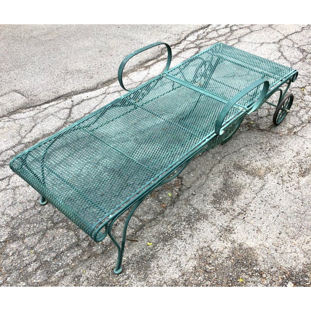 Woodard Tucson Green Wrought Iron Chaise Lounge Chair ...