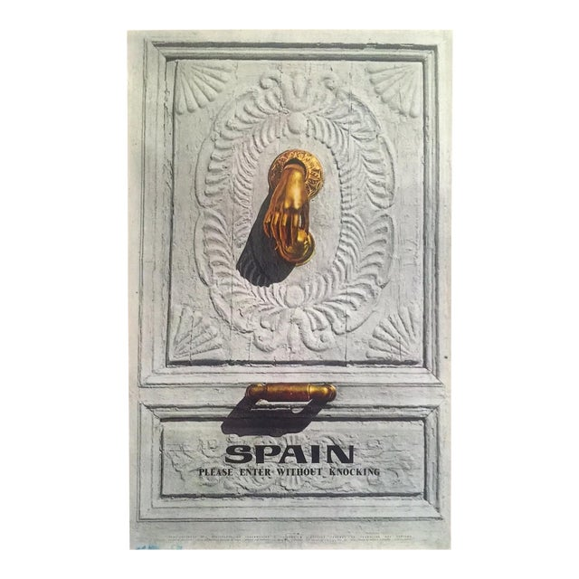 """Vintage Mid Century Rare """" Please Enter Without Knocking """" Collector's Spain Travel Poster For Sale"""