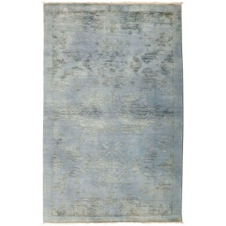 "Vibrance, Hand Knotted Victorian Gray / Blue Wool Area Rug - 4' 2"" X 6' 7"" For Sale"