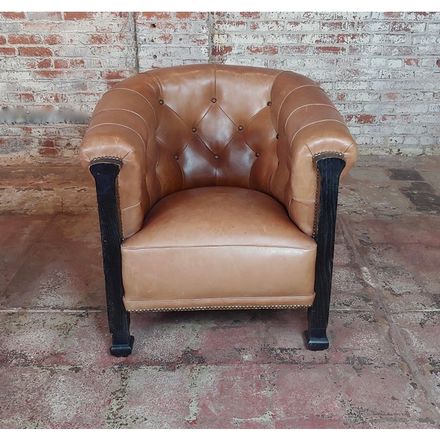 Fabulous Vintage Club Chairs W/Tufted Brown Leather-A Pair For Sale - Image 4 of 11