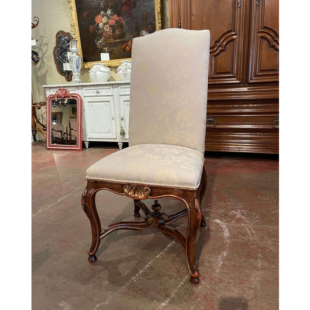 White Set of Eight Louis XV Style Carved Walnut Dining Chairs From Minton-Spidell For Sale - Image 8 of 13