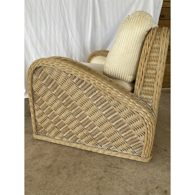 Coastal Wicker Braid Lounge Chair For Sale - Image 12 of 13