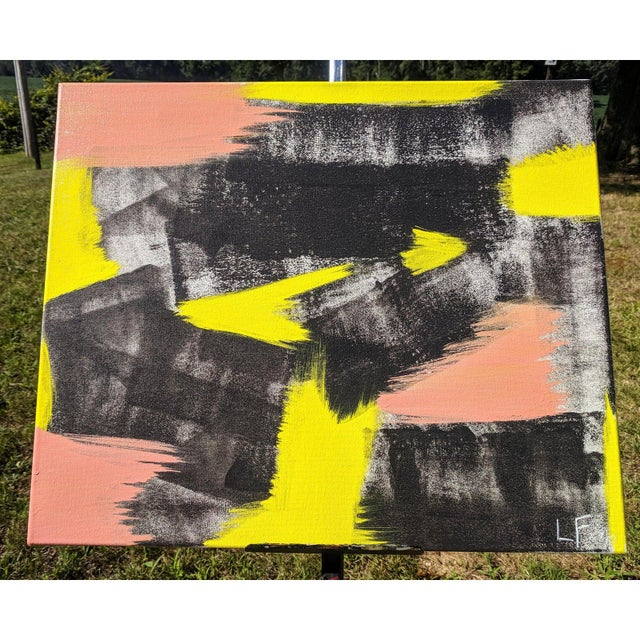 Abstract Original Abstract Neon Lime Salmon Pink and Black Painting For Sale - Image 3 of 13
