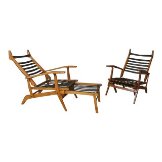 Folding Chairs and Deckchairs by Bbpr Years 50. For Sale