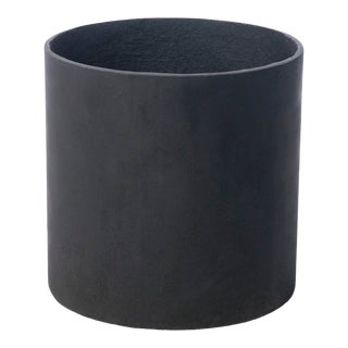 Modern Cylinder Planter in Matte Black For Sale