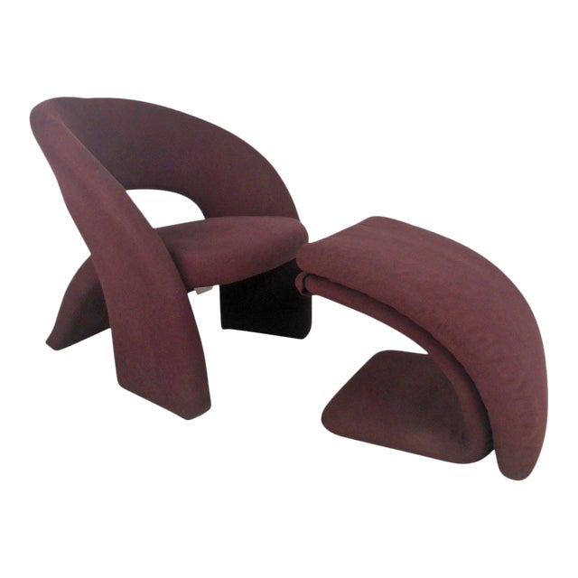 Contemporary Modern Sculptural Lounge Chair with Ottoman - Image 1 of 11