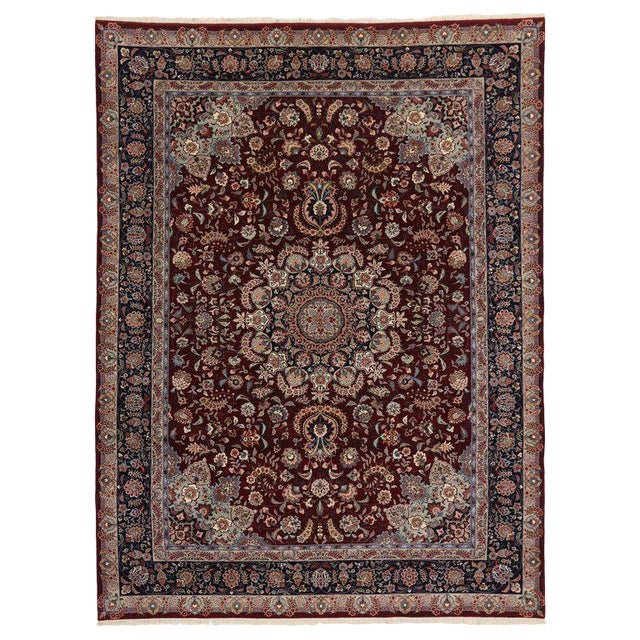 20th Century Chinese Persian Style Mashhad Area Rug - 8′9″ × 11′8″ For Sale