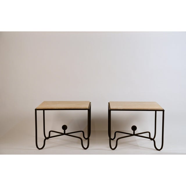 Pair of large 'Entretoise' scream travertine side tables by Design Frères. Great as sofa end tables or as a 2 part coffee...