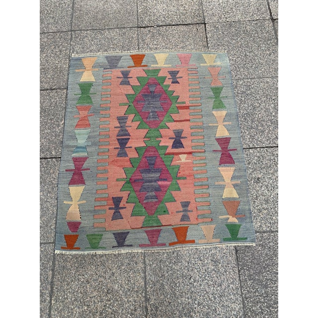 1990s 1990s Wool on Wool Village Rug - 3′ × 3′7″ For Sale - Image 5 of 5