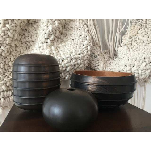 2010s Ebonized Turned Cherry Wood 'Beaded' Vessel No. 3 For Sale - Image 5 of 6