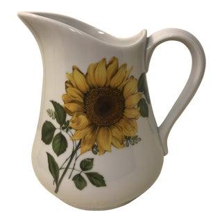 Vintage Ceramic Bia Cordon Bleu Sunflower Pitcher For Sale