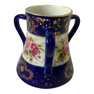 Antique Nippon Cobalt Blue 3 Handle Vase For Sale