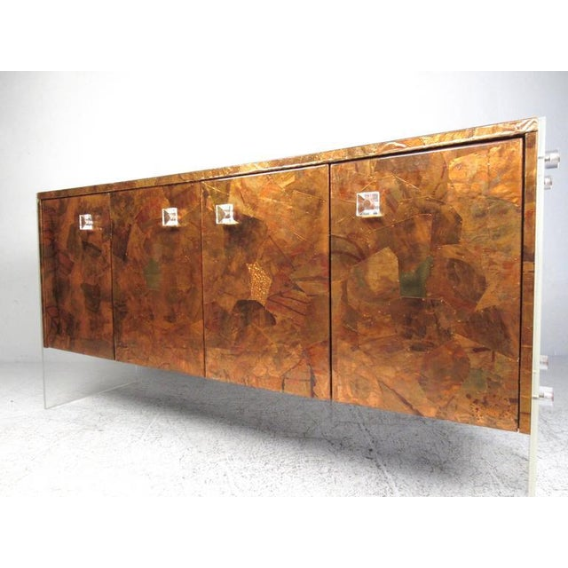 Mid-Century Modern Patchwork Copper and Lucite Sideboard in the Style of Milo Baughman For Sale - Image 3 of 11