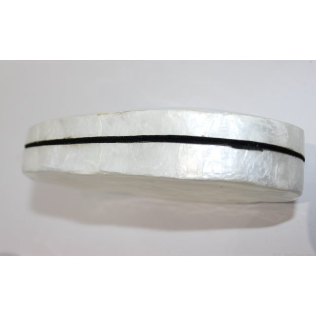 Pearlized Shell and Capiz Shell Trinket Box Velvet Lining For Sale - Image 9 of 13