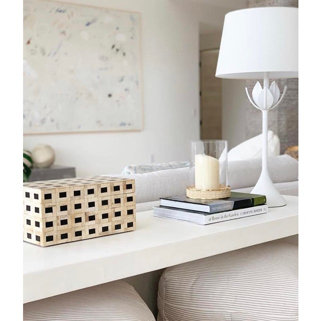 White Minimalist White Plaster Waterfall Console Table For Sale - Image 8 of 8