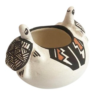Vintage Isleta Pueblo Pottery Pot With Turtles by Stella Teller For Sale