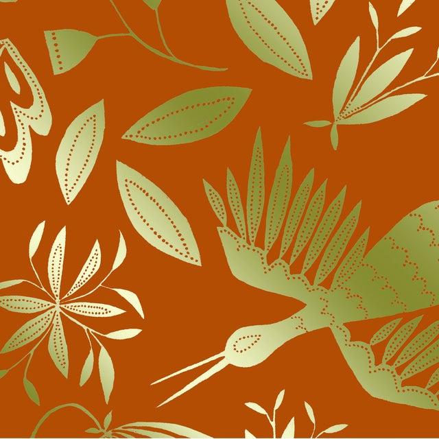 Transitional Julia Kipling Otomi Grand Wallpaper, Sample, in Dusk, Gold Flash For Sale - Image 3 of 4