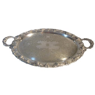 1870s John Wanamaker Nickel Silver Plated Footed Butler's Serving Tray For Sale
