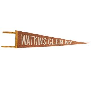 Antique Watkins Glenn Ny Felt Flag Pennant