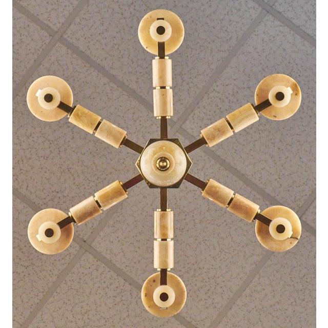 Italian Six-Arm Onyx Brass Chandelier For Sale In Austin - Image 6 of 11