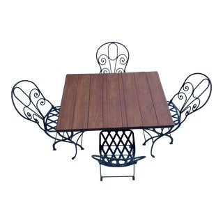 Mexican Modern Wrought Iron Outdoor Dining Set For Sale