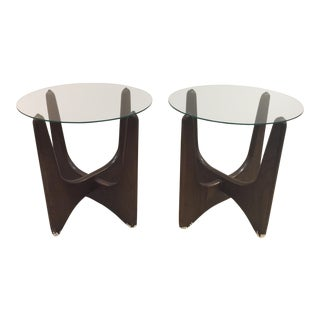 Walnut Sculptural Side Tables - A Pair