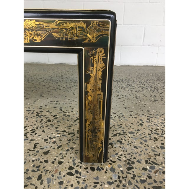 Gold Mastercraft Black Lacquer and Etched Brass Cocktail Table by Bernard Rohne For Sale - Image 8 of 10